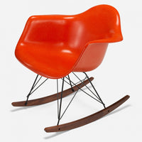 Walnut Rocker - Black Wire Orange