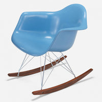 Walnut Rocker - Zinc Wire Baby Blue