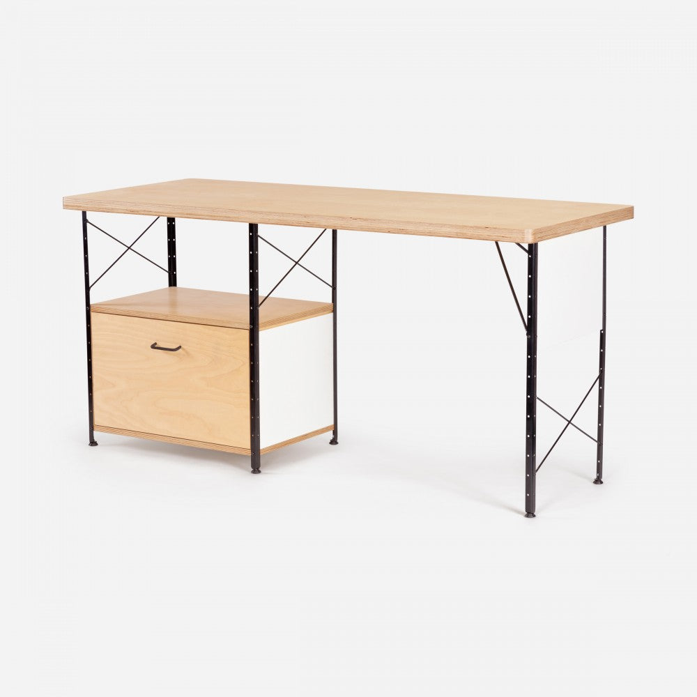 Case study furniture desk with drawer and fiberglass panels modernica inc
