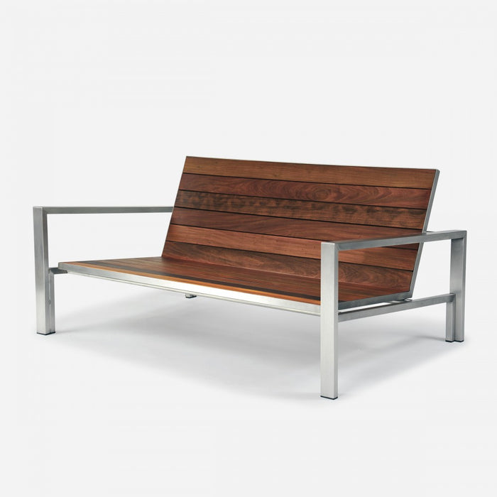Case Study Furniture® Stainless Loveseat - Brazilian Walnut