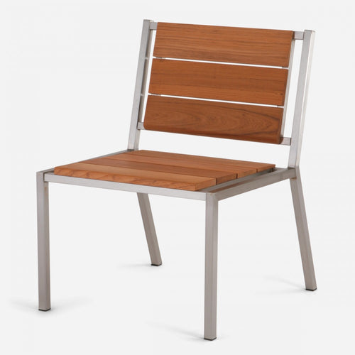 Case Study® Furniture Stainless Dining Chair - Armless - Brazilian Walnut