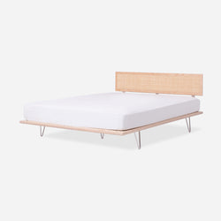 Case Study® Furniture V-Leg Bed with Cane Headboard & Lief Mattress Set