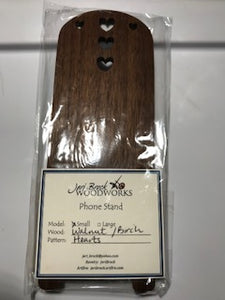 Jeri Brock Woodworks Phone Stand Walnut Presented by Four Hens Fibers