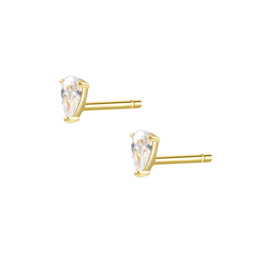 CZ Teardrop Stud Earrings