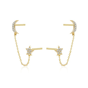 Moon + Star Chain Stud Earring