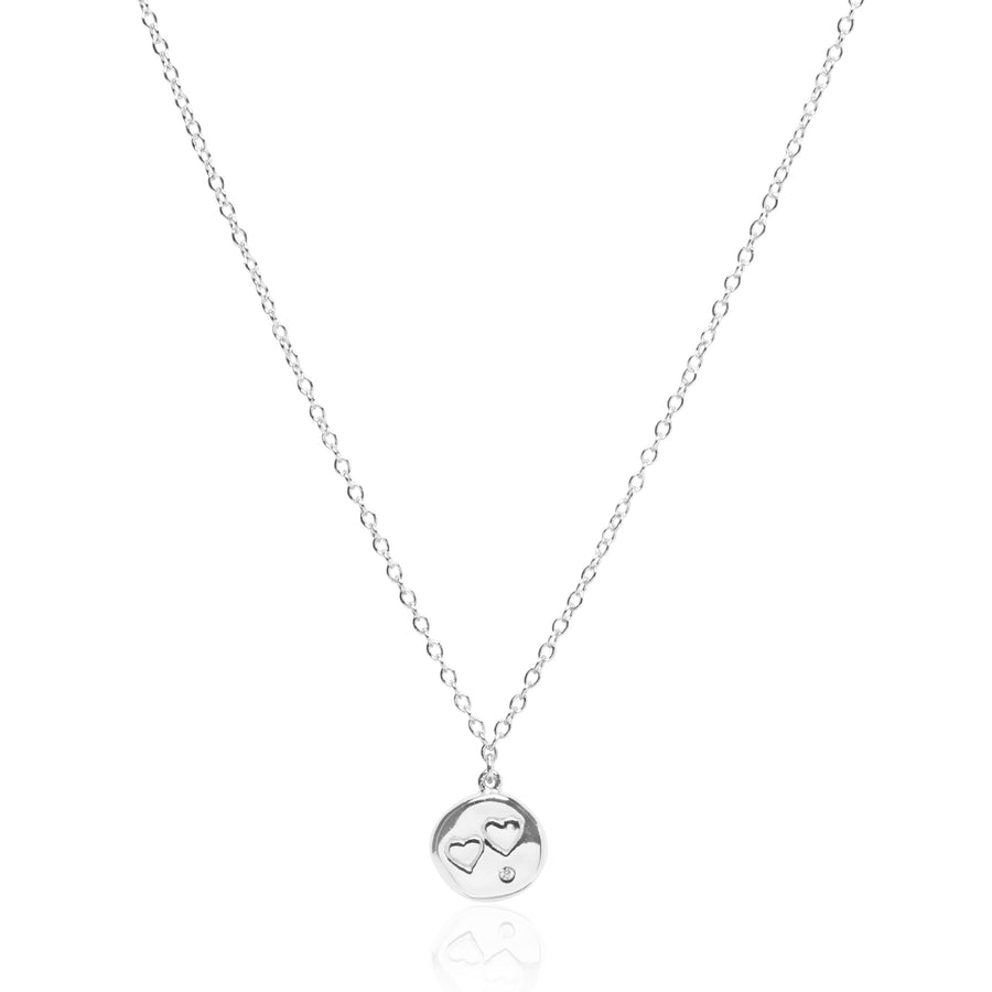 Double Heart Coin Silver Necklace