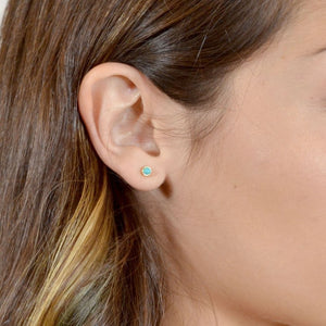 Turquoise Skies Earrings, Gold