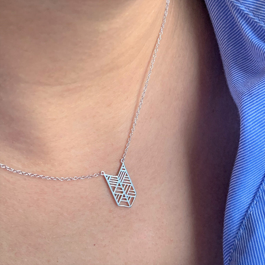 Chevron Layering Silver Necklace at
