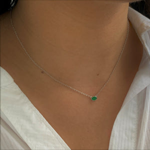 BellaBoho Green Envy Bezel Silver Necklace