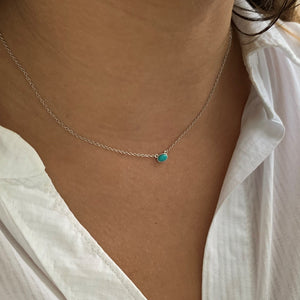 Turquoise Skies Necklace, Silver