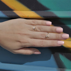 BellaBoho Minimal Open Ring With Two Zirconias 30.00