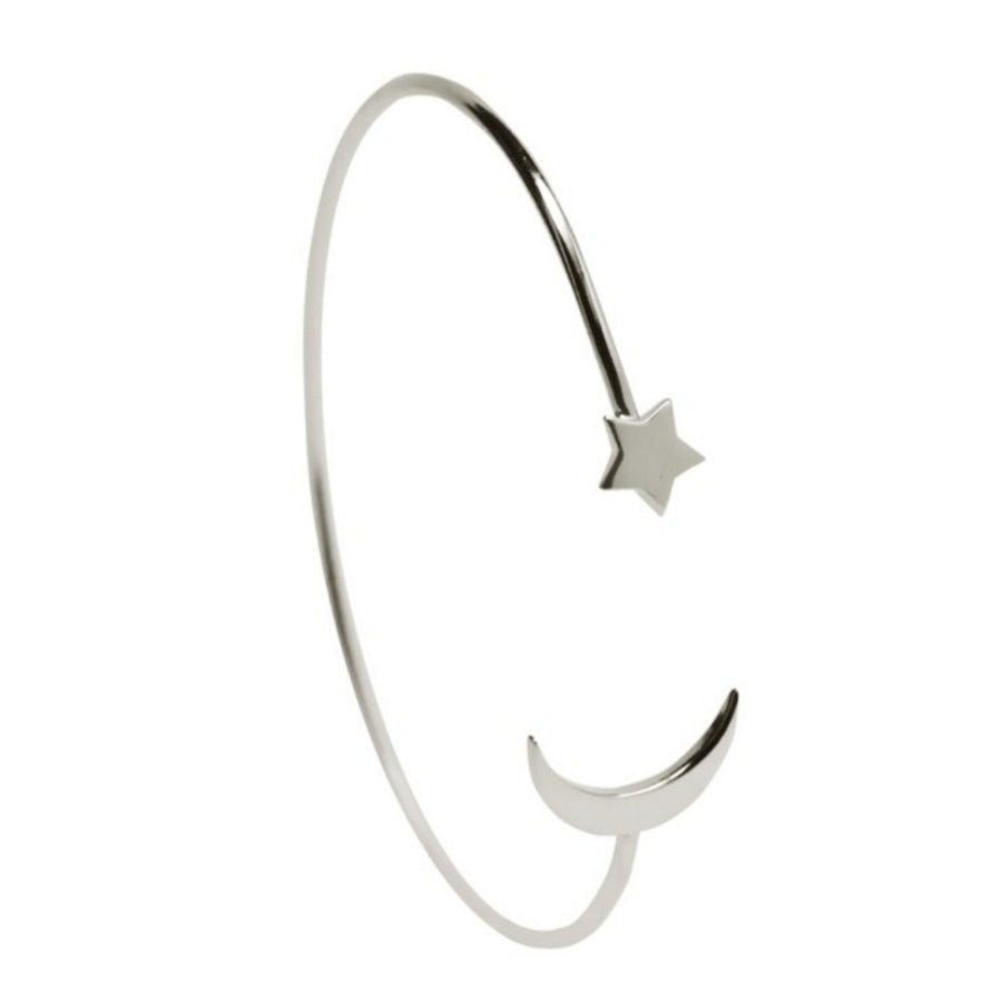Star and Crescent Silver Bangle