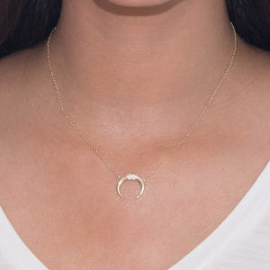 Double Horn Necklace, Gold