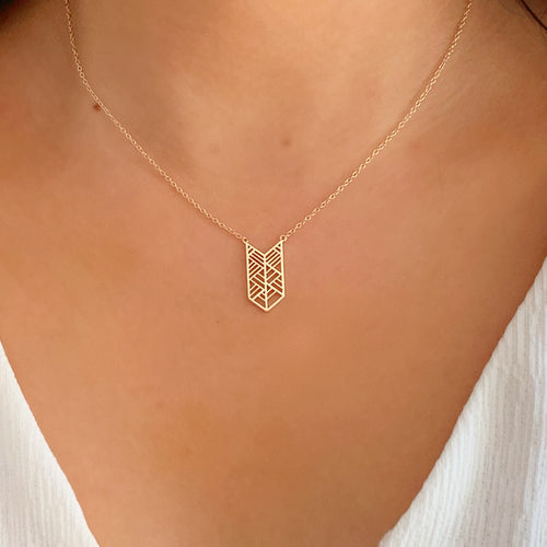 Chevron Layering 18K Gold Vermeil Necklace BELLABOHO