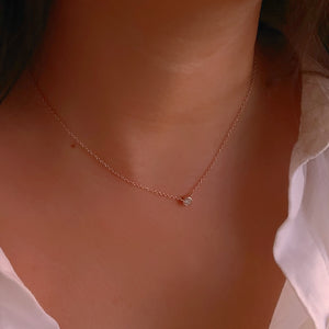 Solitaire Rose Minimalist Seduction 18K Gold Vermeil Necklace
