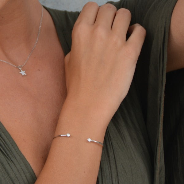Zirconia Stackable Silver Bangle, Delicate Bangle