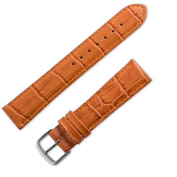 Bracelet montre cuir façon crocodile mat orange - ANTENEN