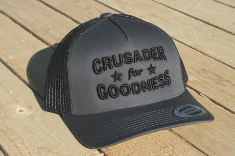 Crusader for Goodness Grey with Black Lettering Snapback Hat