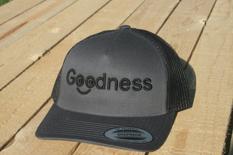 Goodness Smiley Grey with Black Lettering Snapback Hat