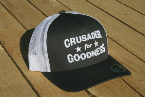 Crusader for Goodness Grey with White Lettering Snapback Hat