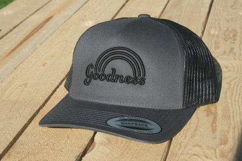 Goodness Rainbow Grey with Black Lettering Snapback Hat