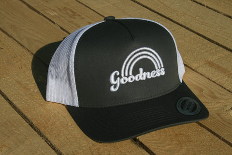 Goodness Rainbow Grey with White Lettering Snapback Hat