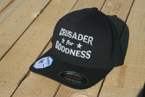 Crusader for Goodness Black with Silver Lettering Flexfit Hat