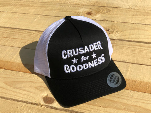 Crusader for Goodness Black with White Lettering Snapback Hat