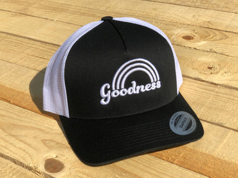 Goodness Rainbow Black with White Lettering Snapback Hat