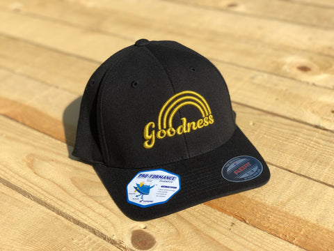 Goodness Rainbow Black with Gold Lettering Flexfit Hat