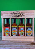 Dave's Insanity Hot Sauce 4 Pack in Wooden Crate (5 oz Bottles)