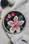 Black Floral Punch Needle Pattern