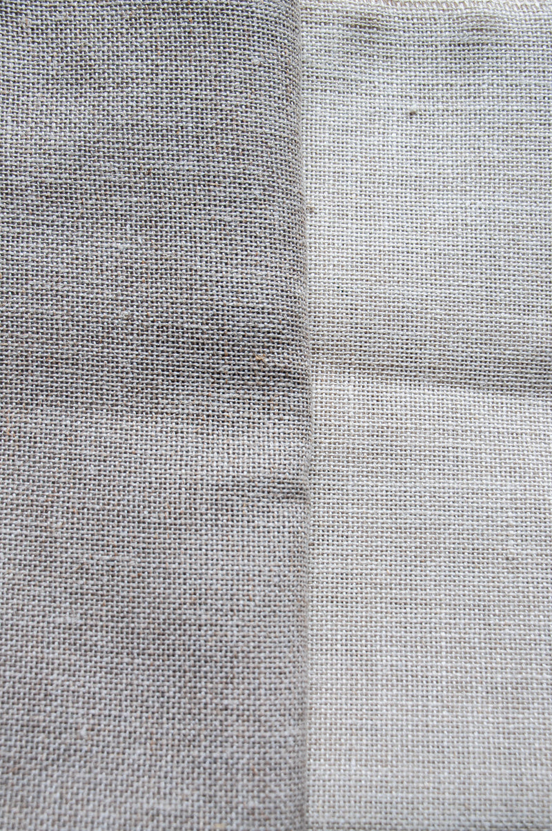 Unbleached and bleached primitive linen color comparison