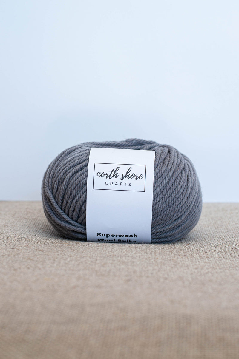 Superwash Wool Bulky Yarn Grey