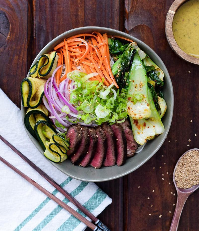 Korean Beef Noodle Bowl with Dijon Sesame Dressing