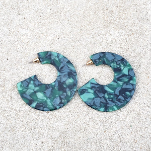 Amari Green Hoop Earrings