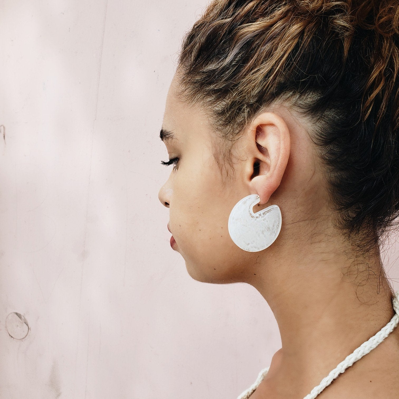 Amelia White Hoop Earrings