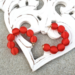 Bella Red Hoop Earrings