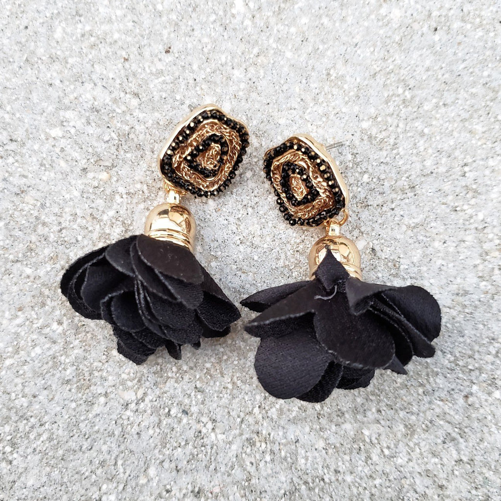 Riya Black Flower Drop Earrings