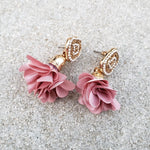 Riya Pink Flower Drop Earrings