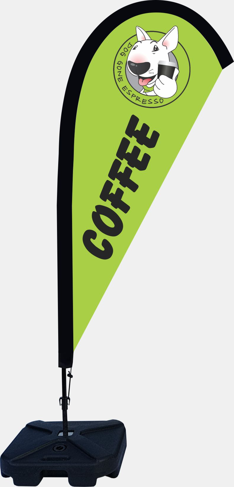 an example of small teardrop banners melbourne for cafes and coffee flags in Melbourne Australia
