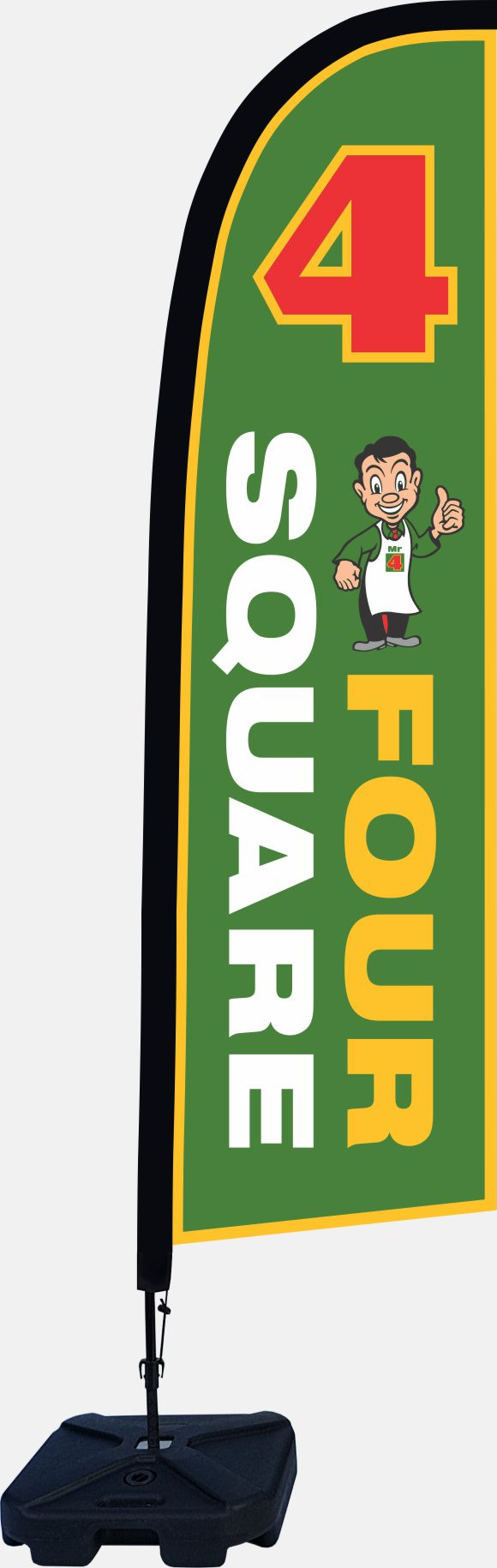 an example of Large advertising feather flags for grocery and dairy in Australia