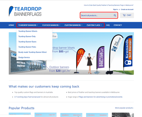 home page search for teardrop banners melbourne and custom banners melbourne