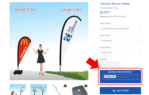 upload own design files for custom feather banner or teardrop banner flags