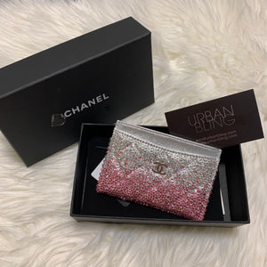 NWT Silver Chanel Card Holder Strassed