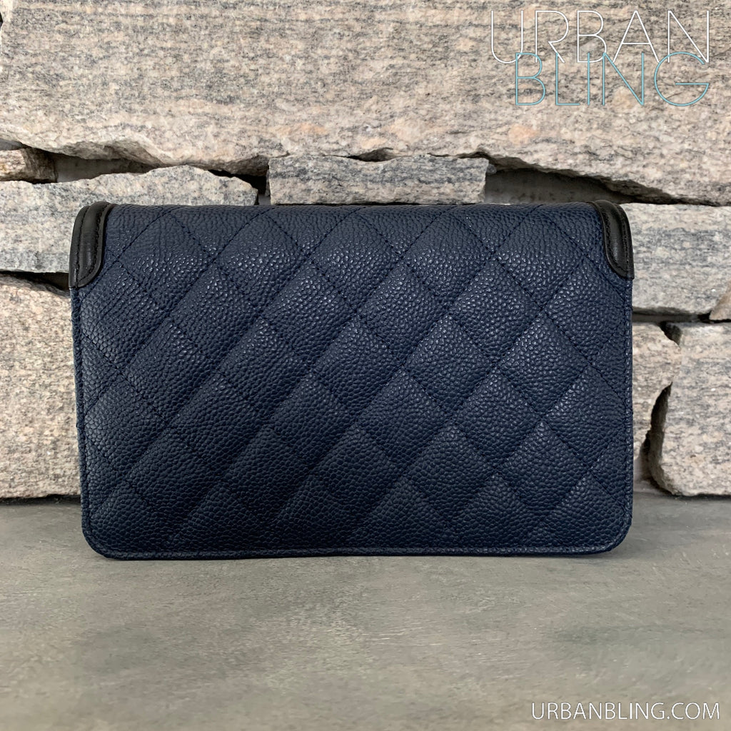 Chanel Filagree Quilted Caviar WOC Strassed