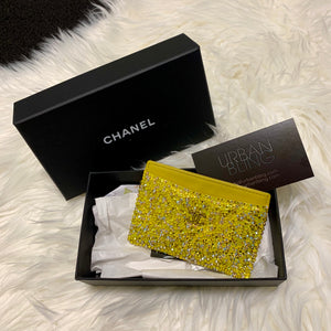 Yellow Chanel Card Holder Strassed