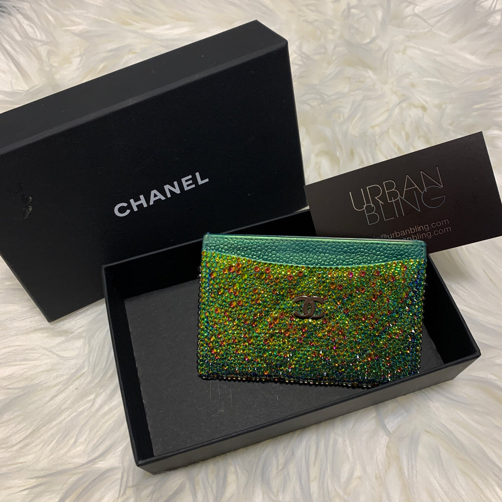 Green Chanel Card Holder Strassed