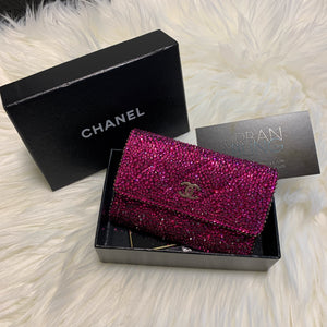 Red Chanel Card Holder Strassed
