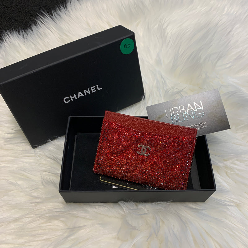Red Chanel Ombre Card Holder